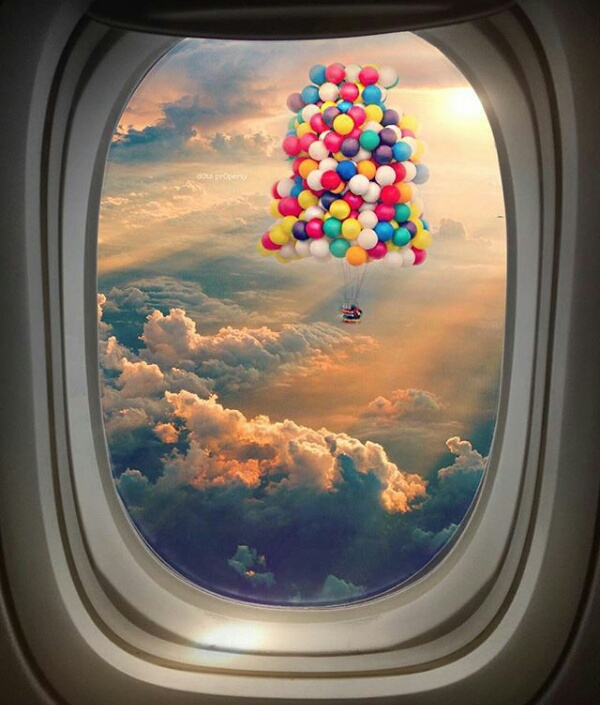 airplane, balloons, flying, inspiration, sky