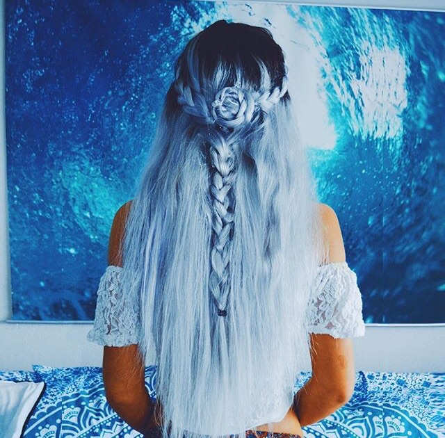 america, art, blue, blue hair, braid