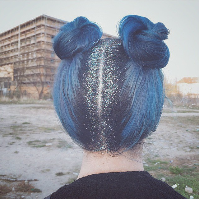blue hair, girl, grunge, tumblr girl
