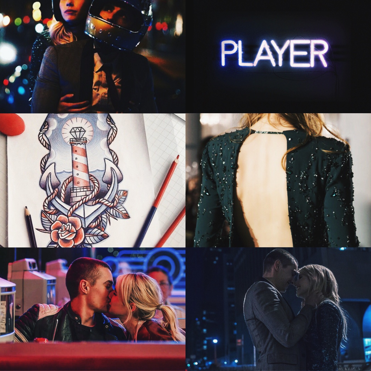 aesthetic, collage, couples, david franco, emma roberts