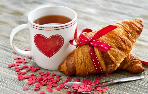 breakfast, croissant, food, heart, tea