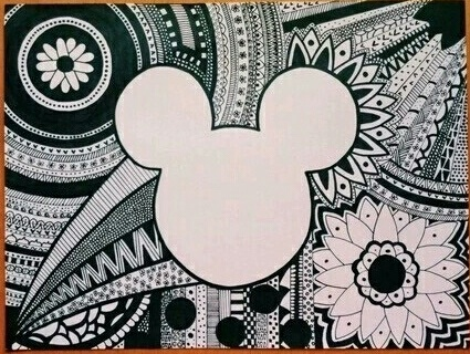 black and white, disney, flowers, mandala, mickey