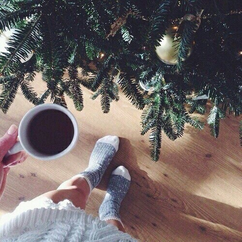 2015, coffee, cookies, decorations, feet