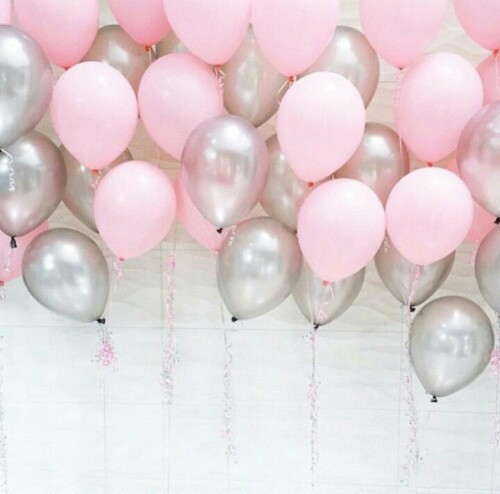 backgrounds, balloons, pastel, pink, silver