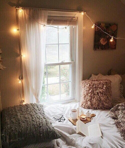 bed, book, candle, cozy, cup
