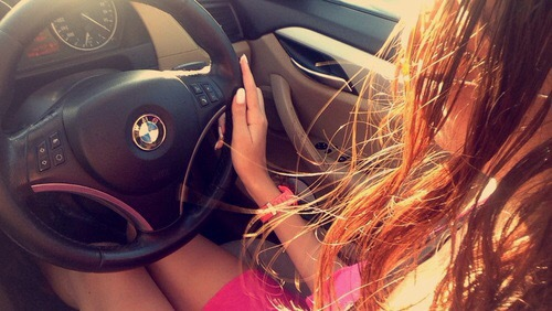 bmw, brunette, car, driving, girl