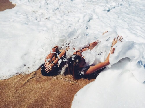 bay, beach, foam, girl, girls