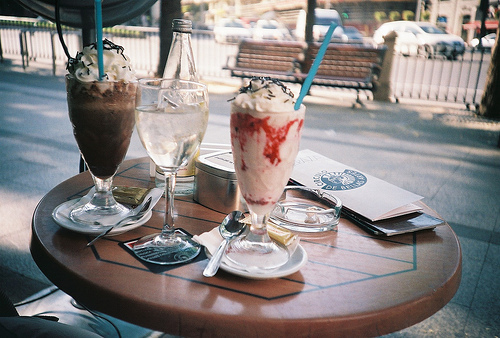 caffe, drinks, free time and ice-cream