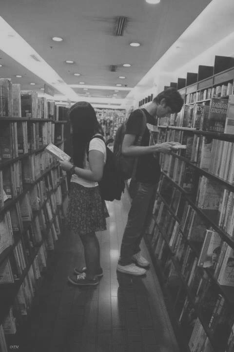 black and white, books, boy, girl, library