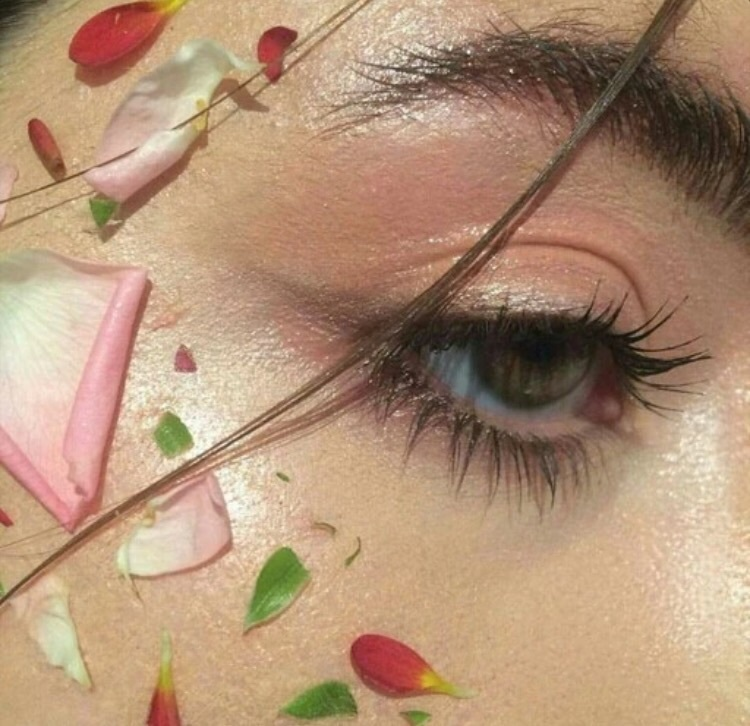 brows, eyes, flowers, lashes, makeup