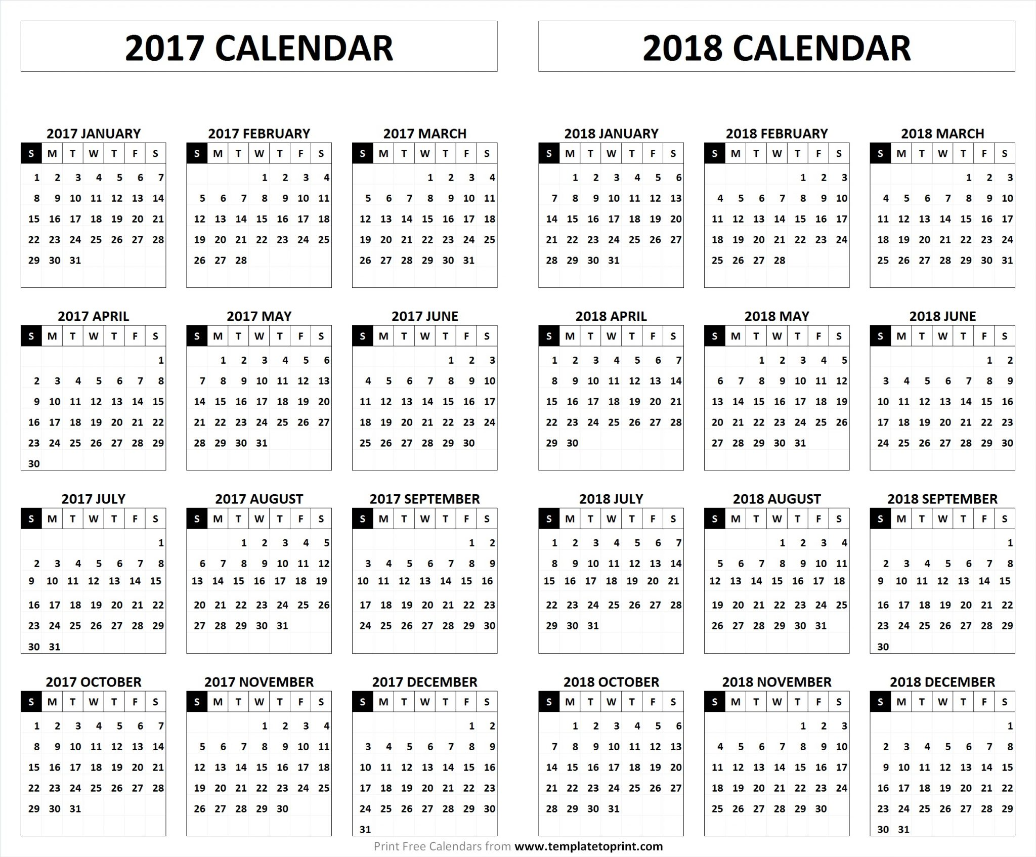 2017 2018 Calendar Printable Template Pdf Holidays And