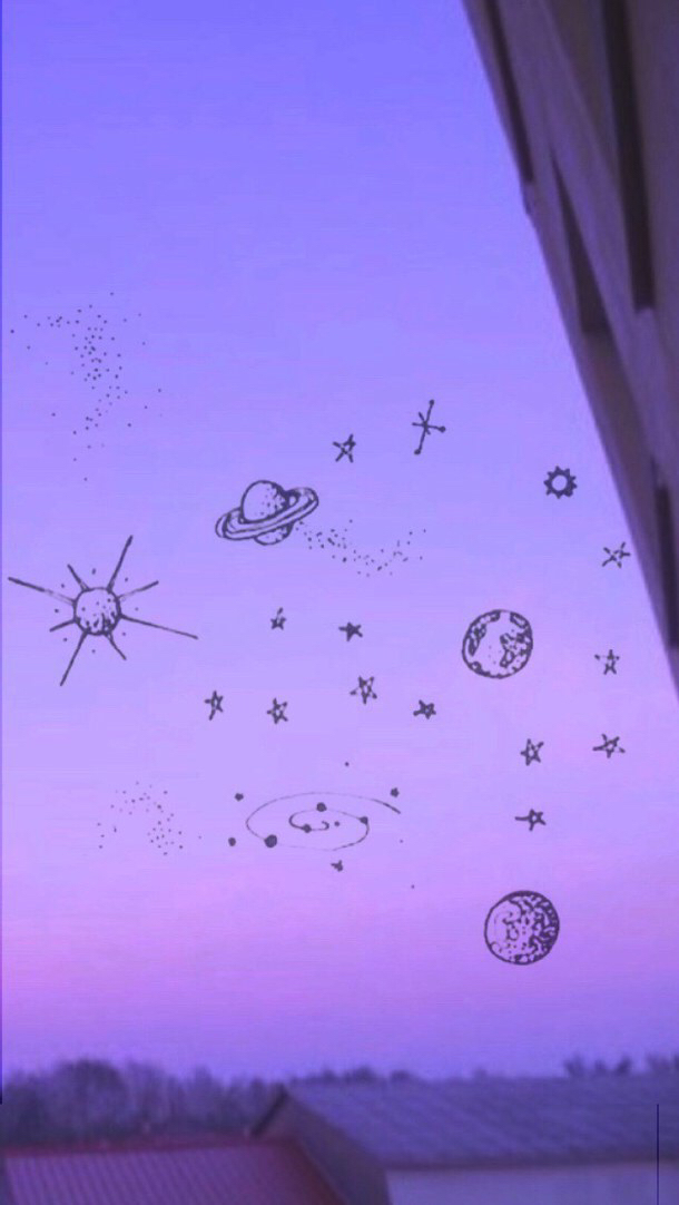 aesthetic, planets, purple, space