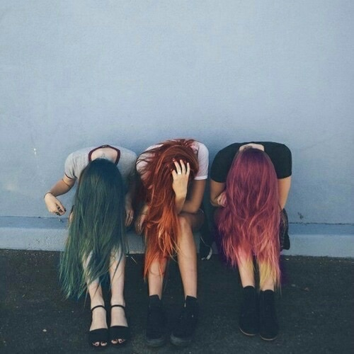 alternative, colorful, darkness, different colors, girls
