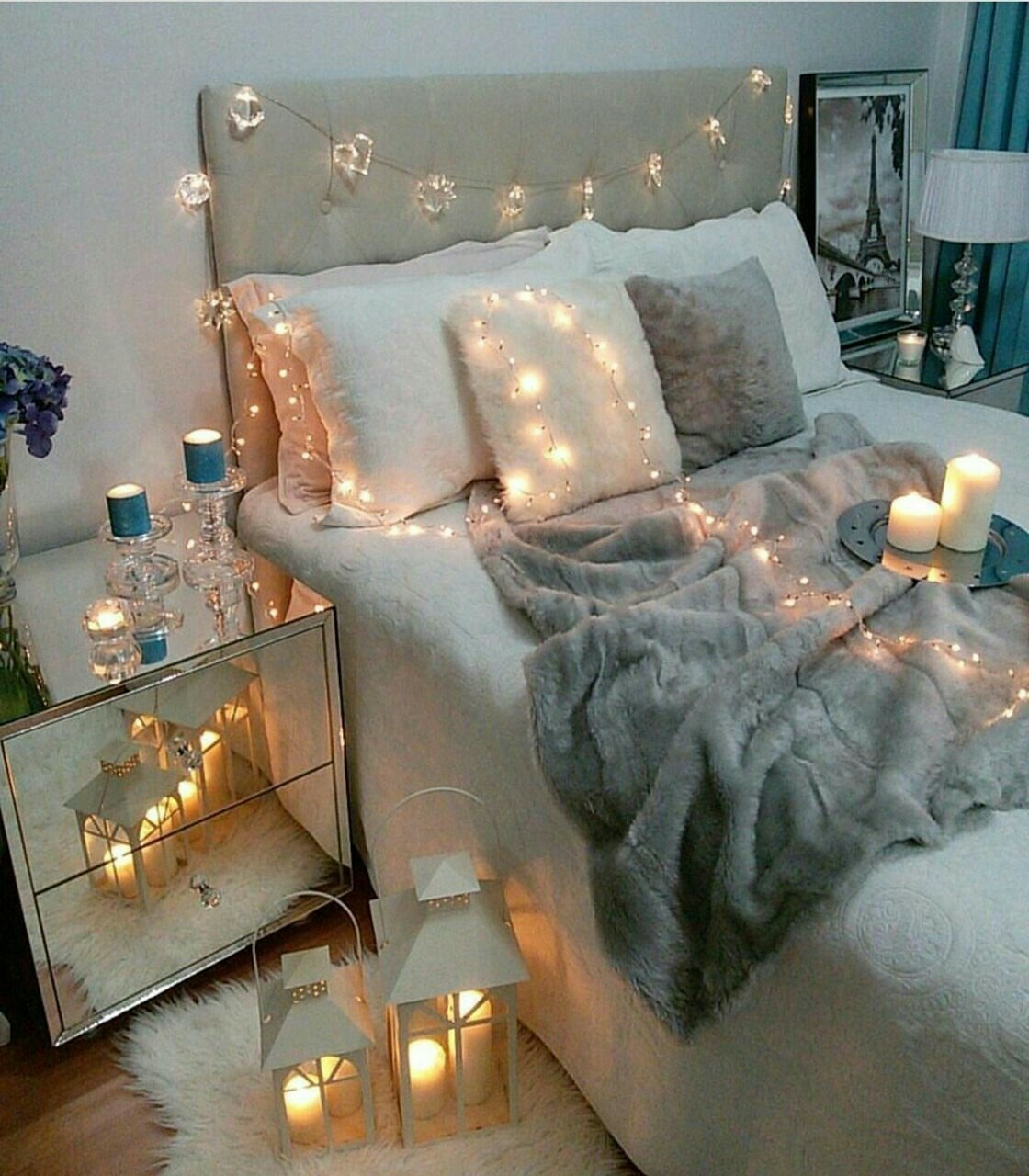 beautiful, bed, bedroom, candles, dreamy