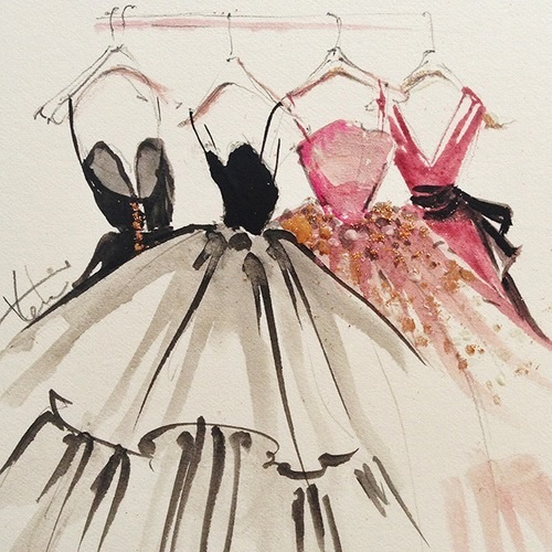 art, black, couture, drawing, dresses