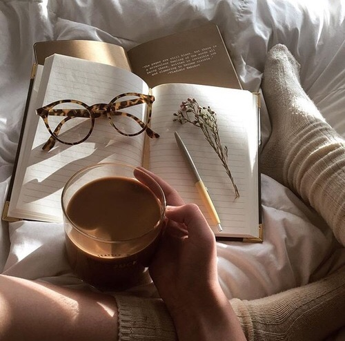 aesthetic, bed, books, coffee, glasses