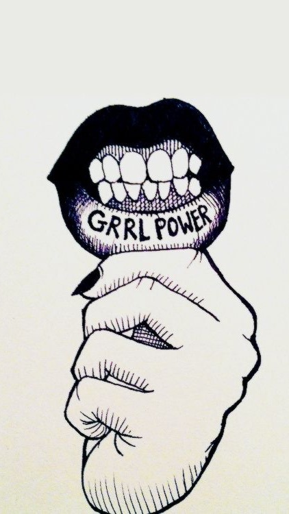 art, black and white, girl power, grunge, iphone wallpaper