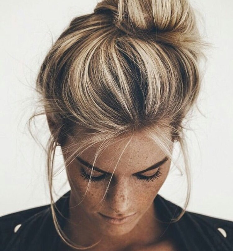 blonde, bun, freckles, hair, tanned