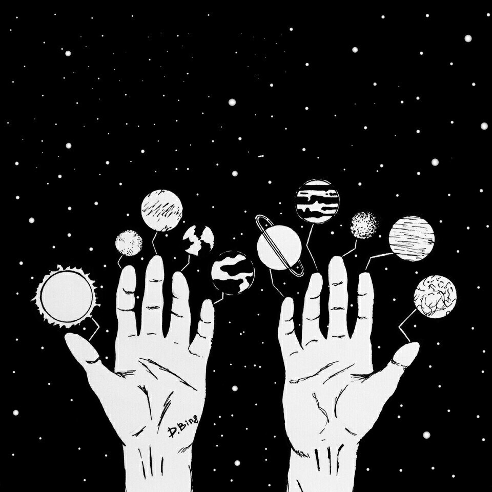 art, black and white, him, alternative grunge indie, sky moon space hand