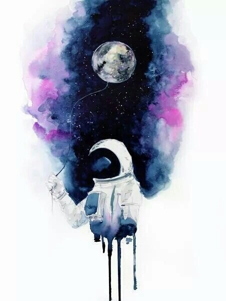 art, astronaut, illustration, moon, universe