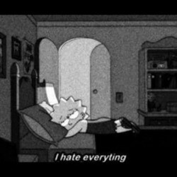 alone, bed, black and white, cartoon, cry