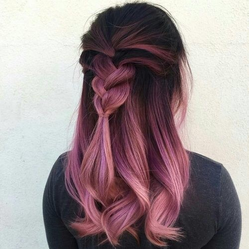 braid, hairstyles, ombre hair, pink hair, wavy