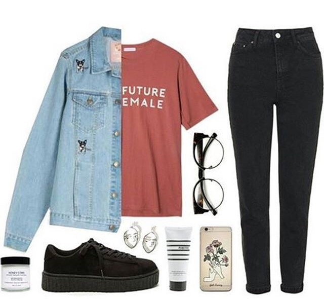clothes, cream, creepers, denim jacket, earrings