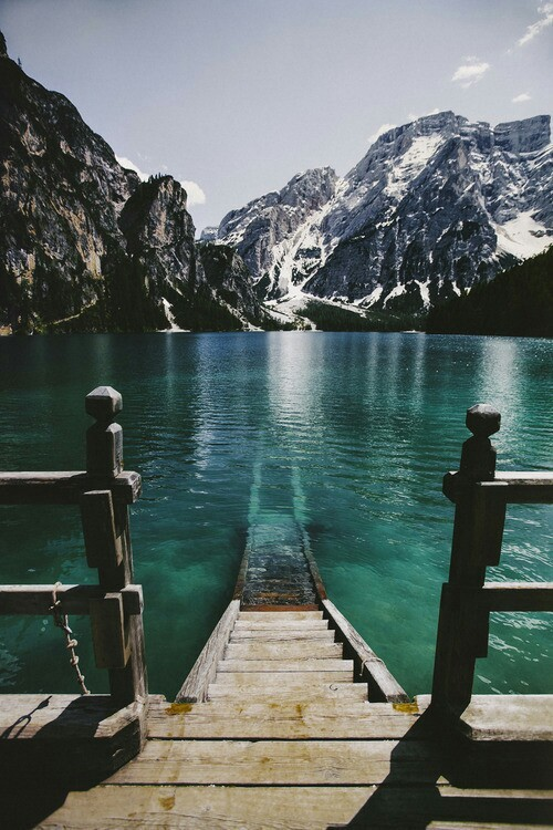 lake, landscape, mountain, stairs
