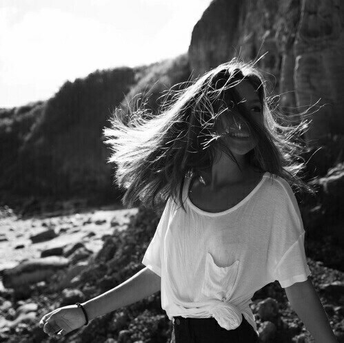 art, beach, black and white, girl, hair