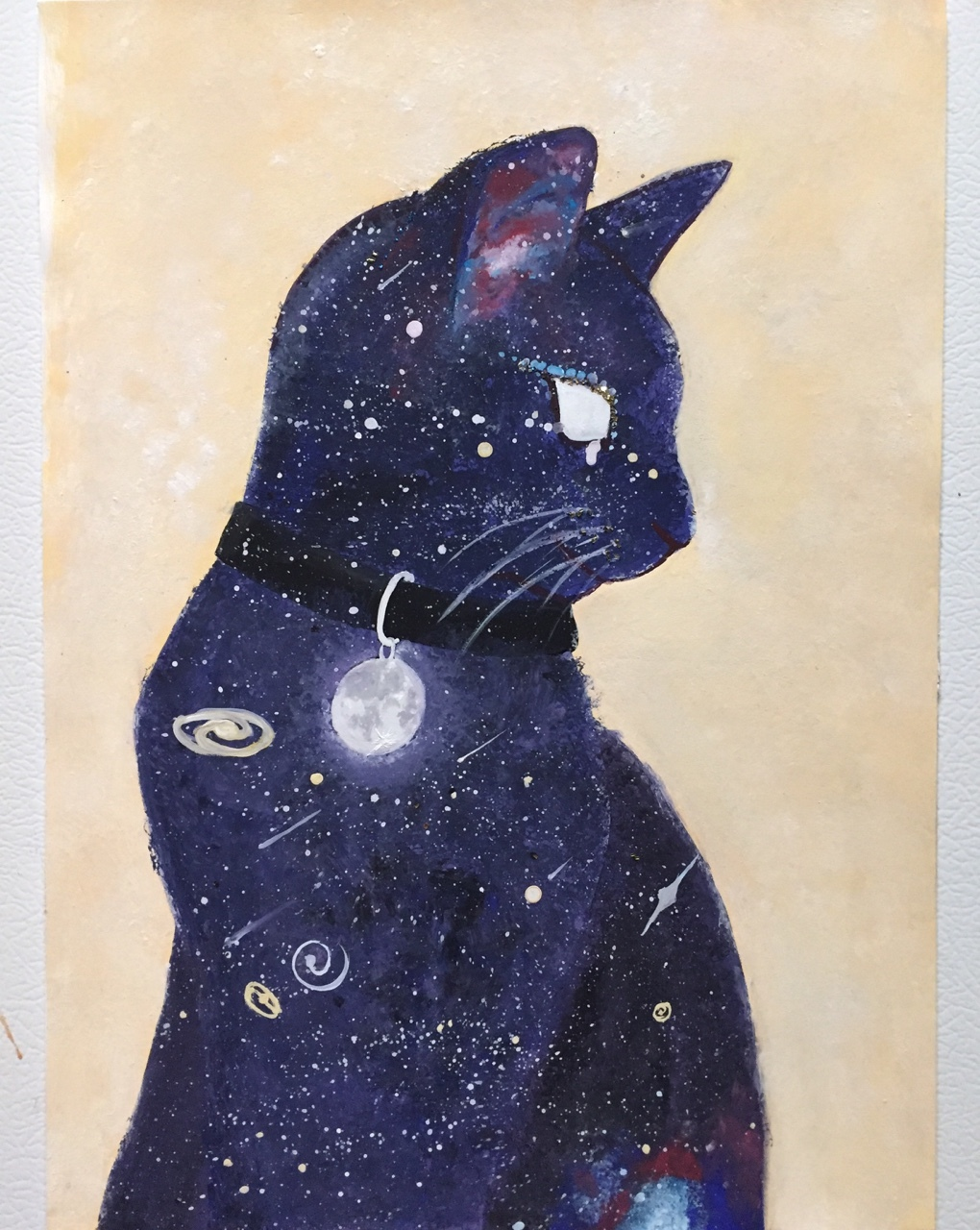 art, beautiful, cat, drawing, space