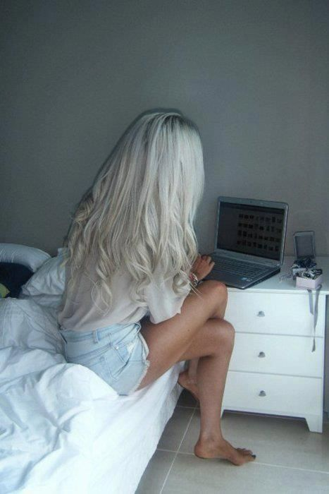 bedroom, blonde, computer, girl, girls