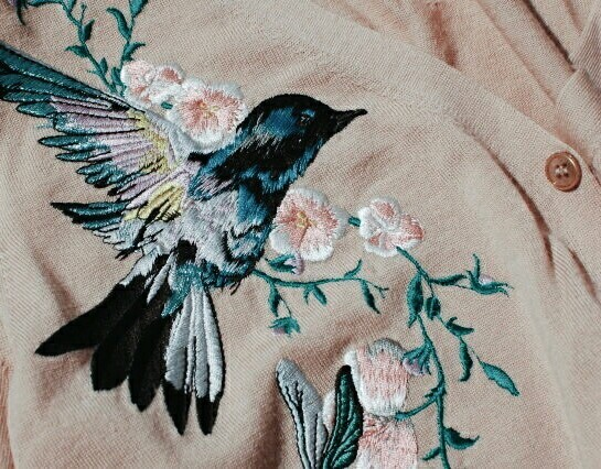 alternative, bird, chic, embroidery, style