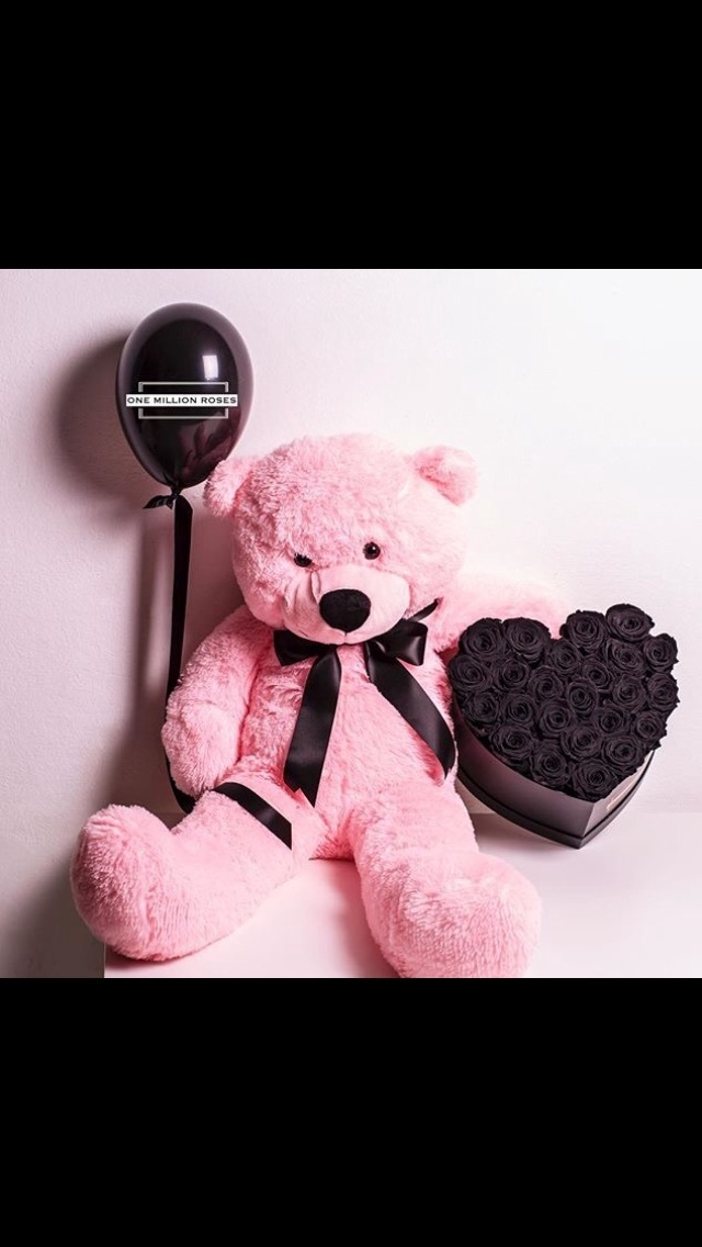 bear, black roses, couple, love, pink and black