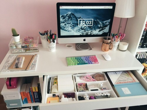 books, clean, colors, computer, desk