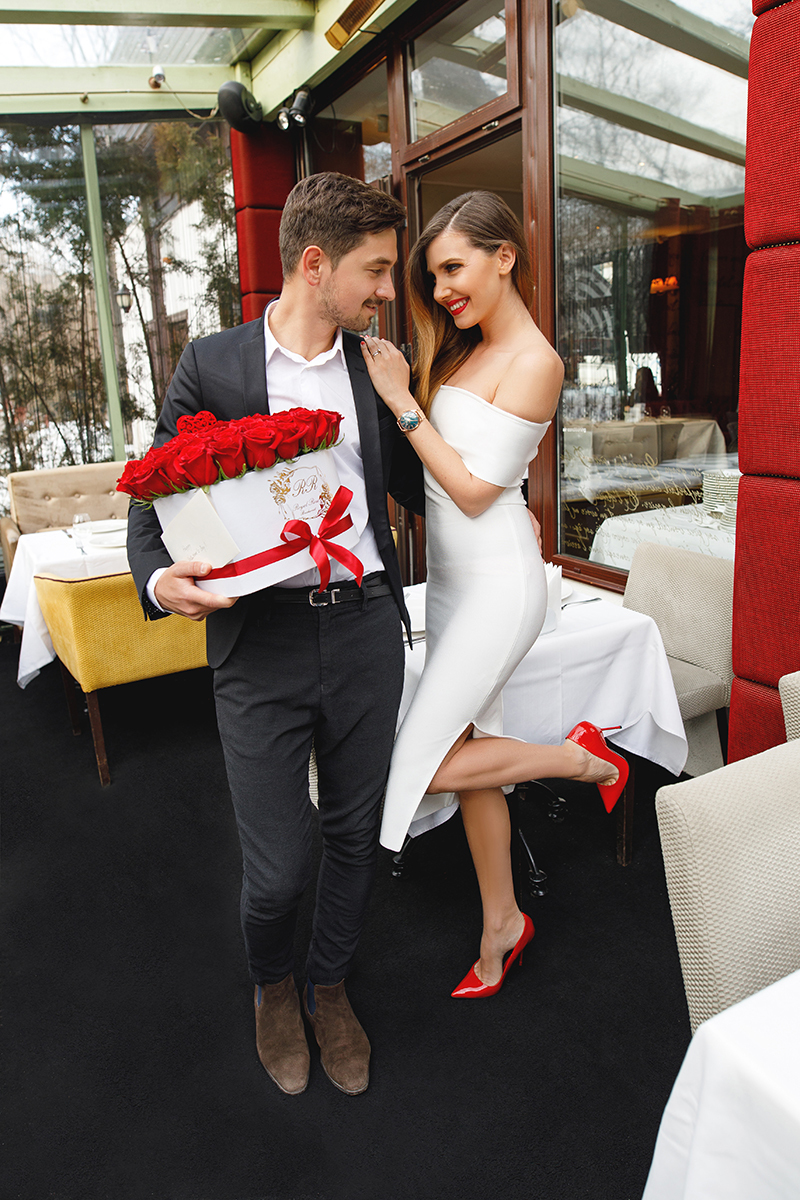 date, fashion blogger, red lipstick, valentines day, power couple