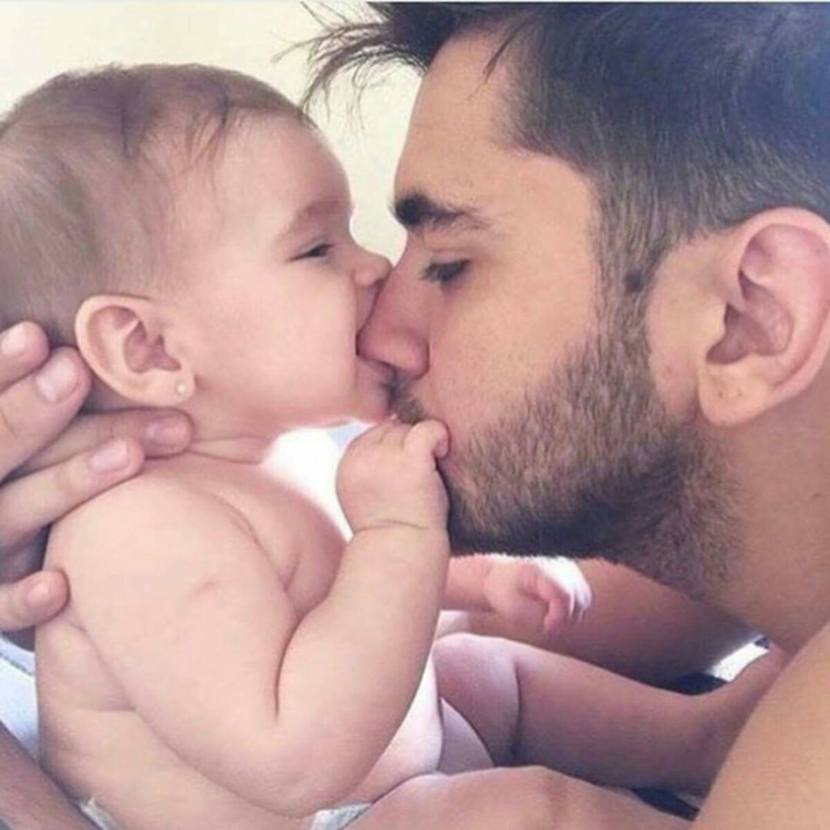 baby, dad, family, goals, kiss