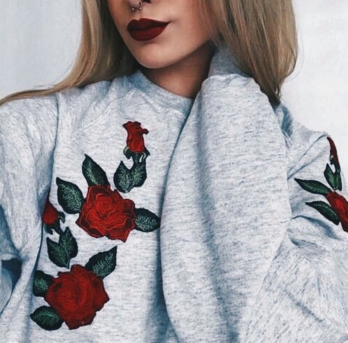 ashion, cotton, embroidered, girly, red lipstick
