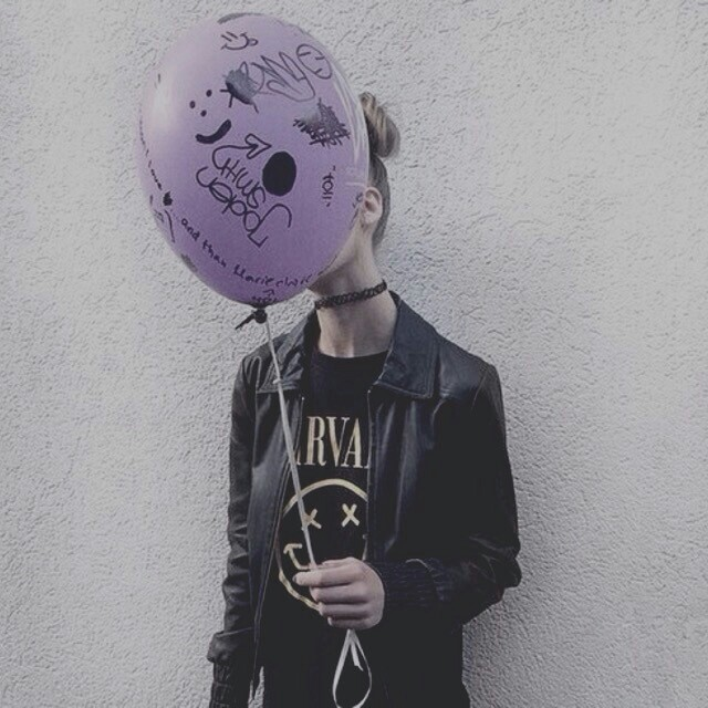 baloon, black, choker, crazy, dark