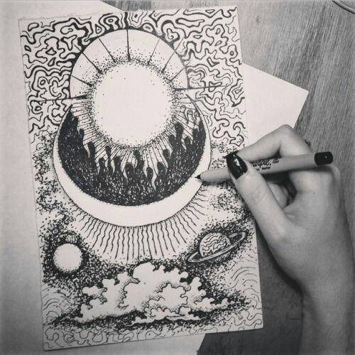 art, black and white, drawing, moon, stars