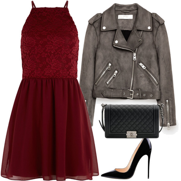 chanel, dress, fashion, leather jacket, polyvore