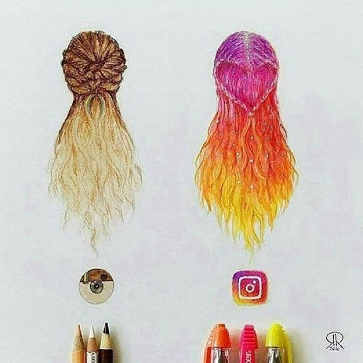 art, colorful, drawing, hair, inspiration