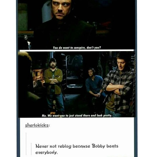 bobby singer, crowley, dean winchester, funny, sam winchester