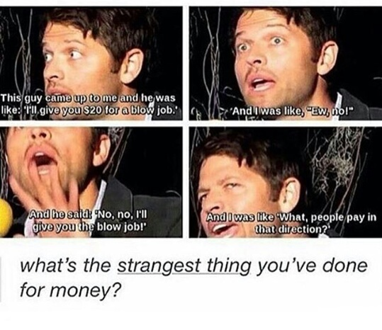 castiel, funny, misha collins, money, supernatural