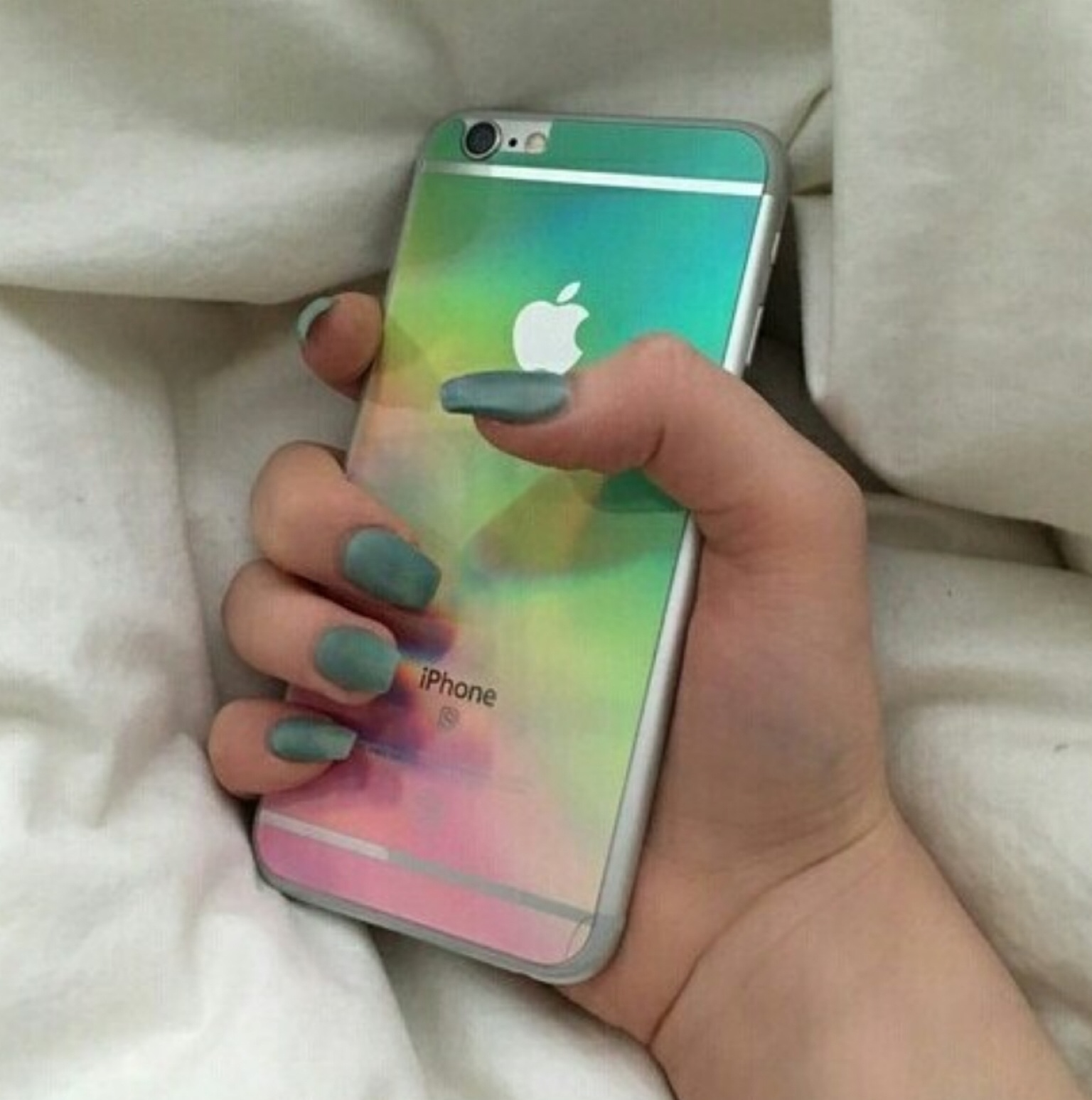 colorful, iphone, nails, rainbow