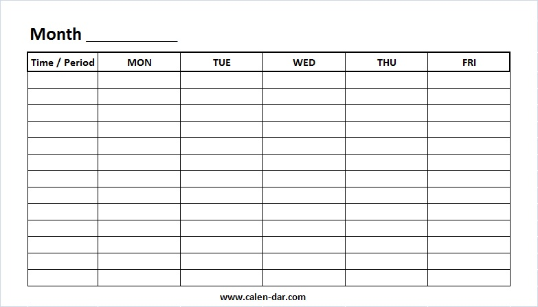 photo regarding Printable Weekly Calendar With Time Slots known as Printable Weekly Calendar Template Monday-Friday with Period
