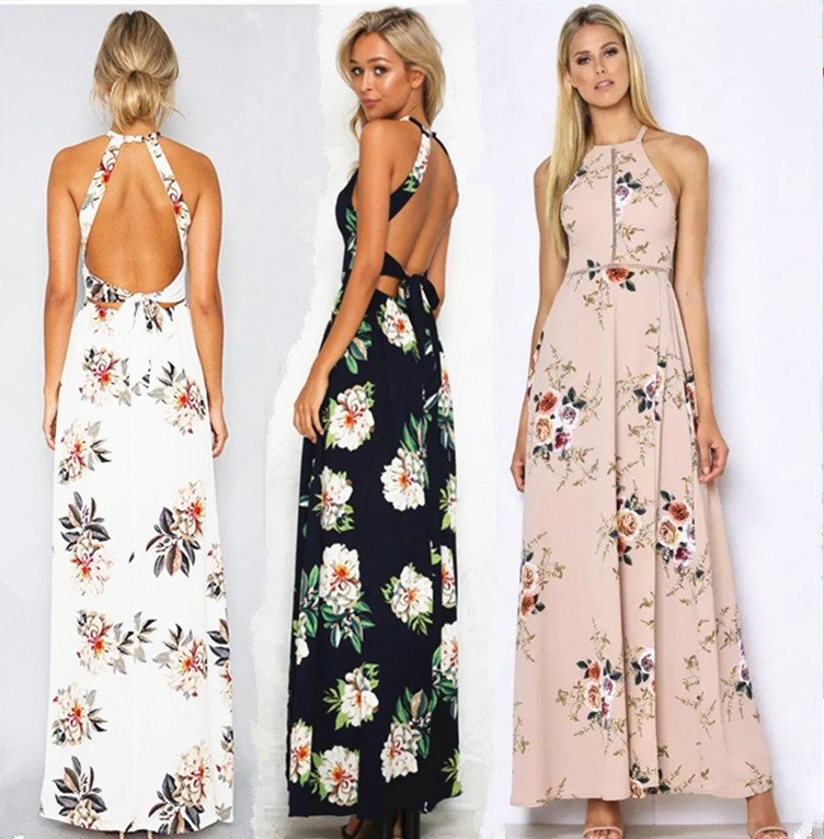 backless, beauty, evening, floral, maxi dresses