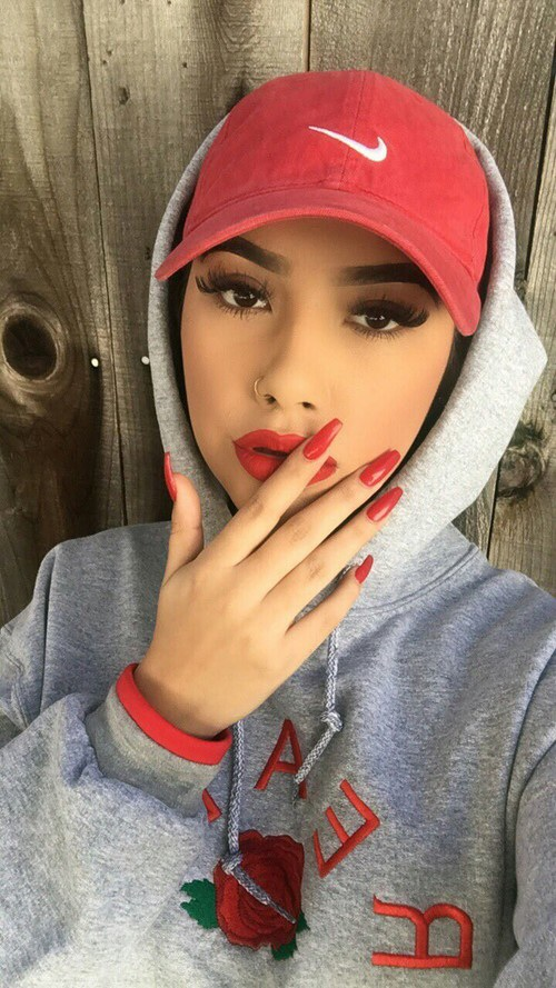 nails, nike, red, you and me, girl girls makeup