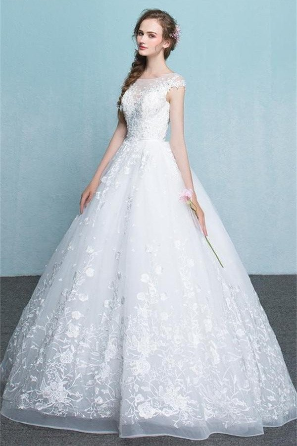 Princess Long White Lace Tulle Wedding Dresses Modest Backless