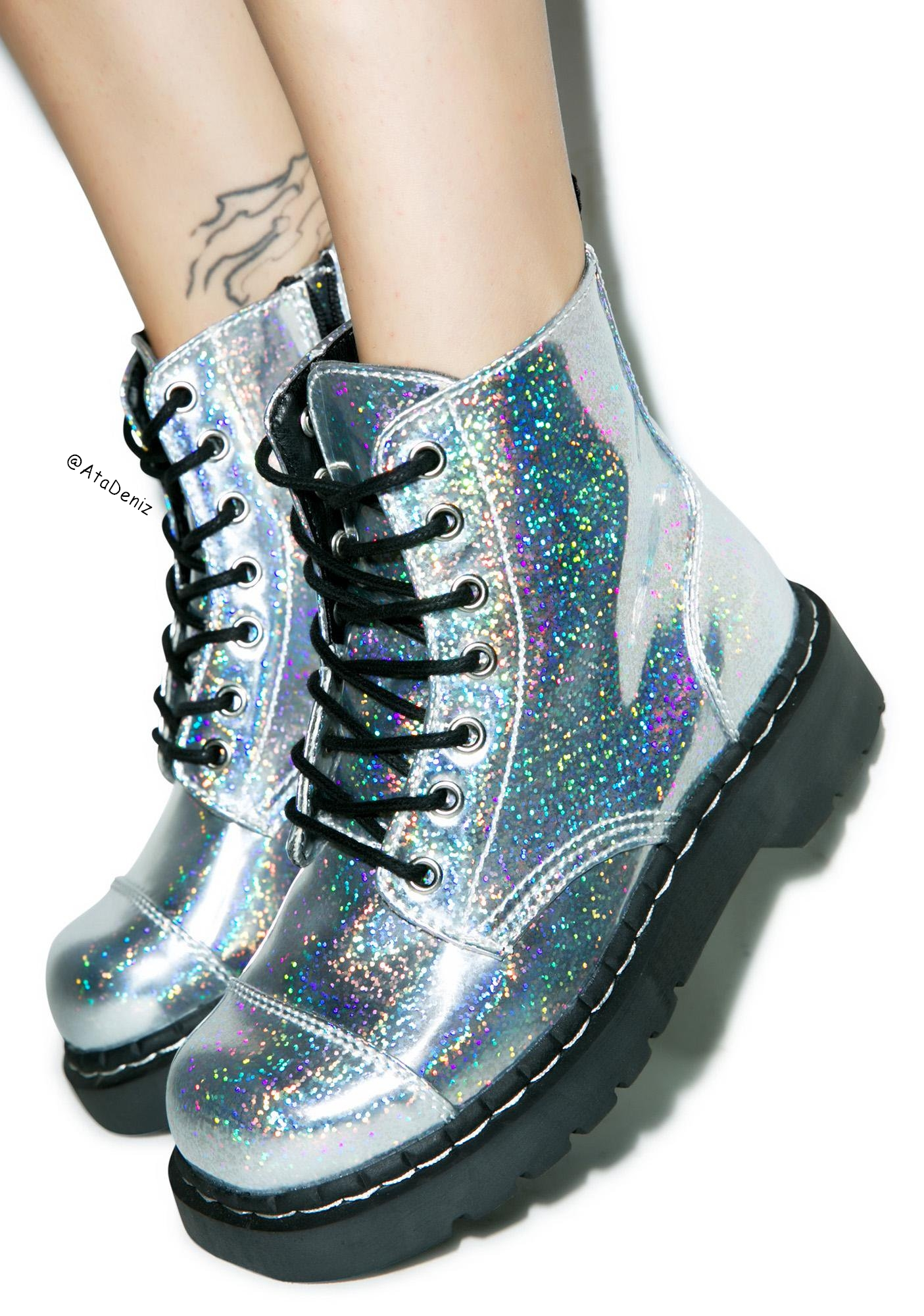 dr martens, holographic, metallic, silver, tattoo