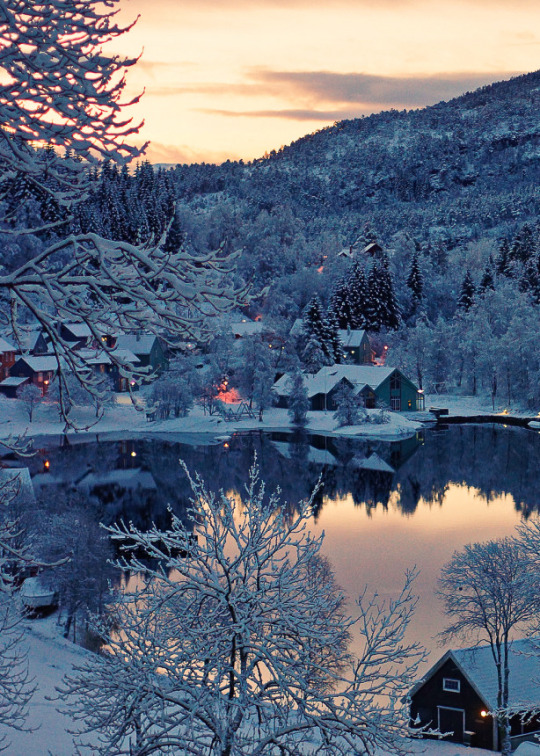 christmas, cold, cottage, evening, lake